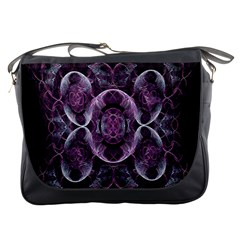 Fractal In Lovely Swirls Of Purple And Blue Messenger Bags