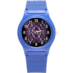 Fractal In Lovely Swirls Of Purple And Blue Round Plastic Sport Watch (S)