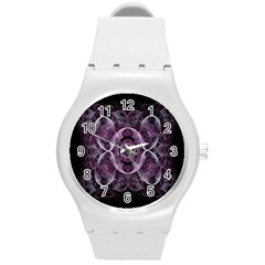 Fractal In Lovely Swirls Of Purple And Blue Round Plastic Sport Watch (M)