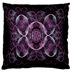 Fractal In Lovely Swirls Of Purple And Blue Large Cushion Case (Two Sides)
