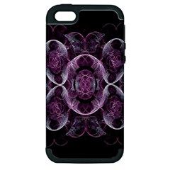 Fractal In Lovely Swirls Of Purple And Blue Apple iPhone 5 Hardshell Case (PC+Silicone)