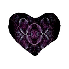 Fractal In Lovely Swirls Of Purple And Blue Standard 16  Premium Heart Shape Cushions