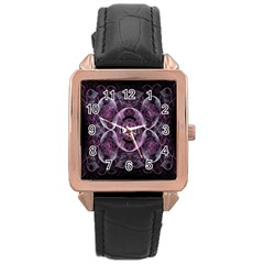 Fractal In Lovely Swirls Of Purple And Blue Rose Gold Leather Watch