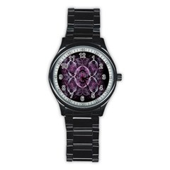 Fractal In Lovely Swirls Of Purple And Blue Stainless Steel Round Watch