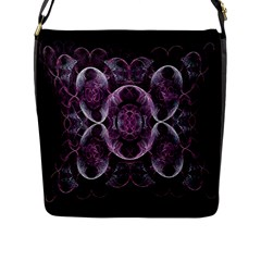 Fractal In Lovely Swirls Of Purple And Blue Flap Messenger Bag (l)