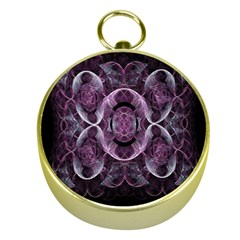Fractal In Lovely Swirls Of Purple And Blue Gold Compasses
