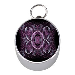 Fractal In Lovely Swirls Of Purple And Blue Mini Silver Compasses