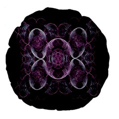 Fractal In Lovely Swirls Of Purple And Blue Large 18  Premium Flano Round Cushions