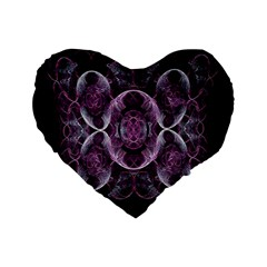 Fractal In Lovely Swirls Of Purple And Blue Standard 16  Premium Flano Heart Shape Cushions