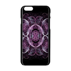 Fractal In Lovely Swirls Of Purple And Blue Apple Iphone 6/6s Black Enamel Case