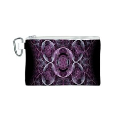 Fractal In Lovely Swirls Of Purple And Blue Canvas Cosmetic Bag (S)