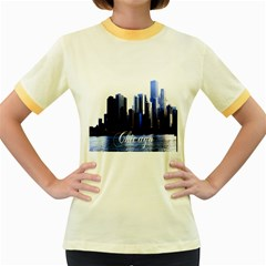 Abstract Of Downtown Chicago Effects Women s Fitted Ringer T-Shirts