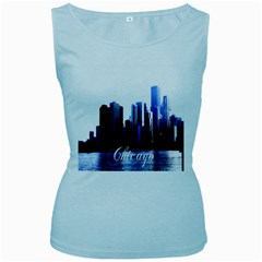 Abstract Of Downtown Chicago Effects Women s Baby Blue Tank Top
