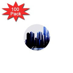Abstract Of Downtown Chicago Effects 1  Mini Buttons (100 pack)