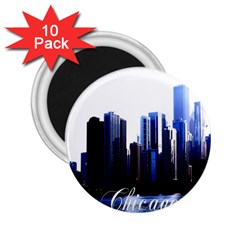 Abstract Of Downtown Chicago Effects 2 25  Magnets (10 Pack)