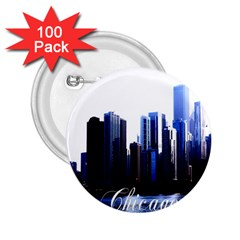 Abstract Of Downtown Chicago Effects 2 25  Buttons (100 Pack)