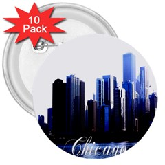 Abstract Of Downtown Chicago Effects 3  Buttons (10 pack)