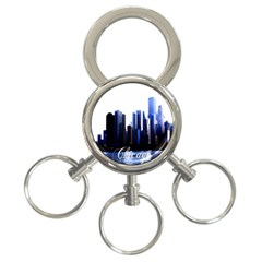 Abstract Of Downtown Chicago Effects 3 Ring Key Chains