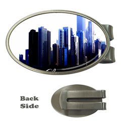 Abstract Of Downtown Chicago Effects Money Clips (Oval)