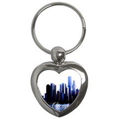 Abstract Of Downtown Chicago Effects Key Chains (heart)