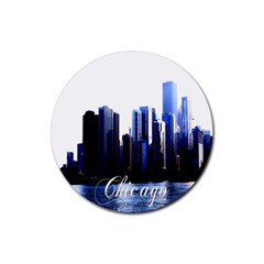 Abstract Of Downtown Chicago Effects Rubber Coaster (round)