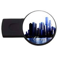 Abstract Of Downtown Chicago Effects Usb Flash Drive Round (2 Gb)