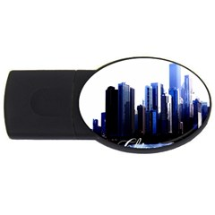 Abstract Of Downtown Chicago Effects Usb Flash Drive Oval (2 Gb)