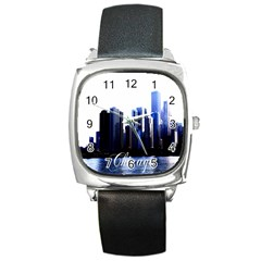 Abstract Of Downtown Chicago Effects Square Metal Watch