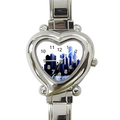 Abstract Of Downtown Chicago Effects Heart Italian Charm Watch