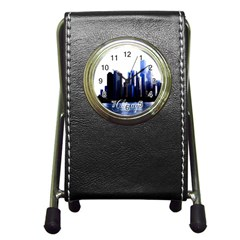 Abstract Of Downtown Chicago Effects Pen Holder Desk Clocks