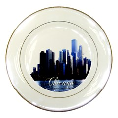 Abstract Of Downtown Chicago Effects Porcelain Plates