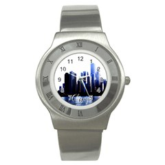 Abstract Of Downtown Chicago Effects Stainless Steel Watch
