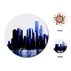 Abstract Of Downtown Chicago Effects Playing Cards (round)