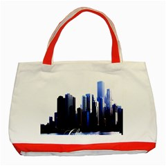 Abstract Of Downtown Chicago Effects Classic Tote Bag (Red)