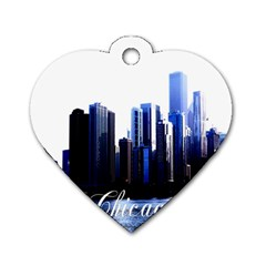 Abstract Of Downtown Chicago Effects Dog Tag Heart (Two Sides)