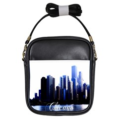 Abstract Of Downtown Chicago Effects Girls Sling Bags