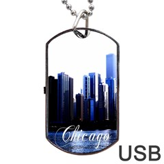 Abstract Of Downtown Chicago Effects Dog Tag Usb Flash (two Sides)