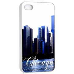 Abstract Of Downtown Chicago Effects Apple Iphone 4/4s Seamless Case (white)