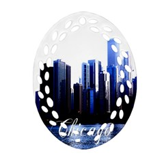 Abstract Of Downtown Chicago Effects Oval Filigree Ornament (two Sides)
