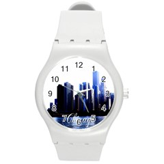 Abstract Of Downtown Chicago Effects Round Plastic Sport Watch (M)