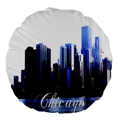 Abstract Of Downtown Chicago Effects Large 18  Premium Round Cushions