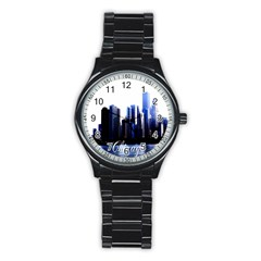 Abstract Of Downtown Chicago Effects Stainless Steel Round Watch