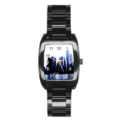 Abstract Of Downtown Chicago Effects Stainless Steel Barrel Watch