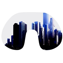 Abstract Of Downtown Chicago Effects Travel Neck Pillows
