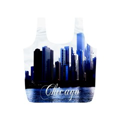 Abstract Of Downtown Chicago Effects Full Print Recycle Bags (S)