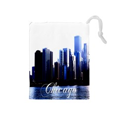 Abstract Of Downtown Chicago Effects Drawstring Pouches (Medium)
