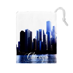 Abstract Of Downtown Chicago Effects Drawstring Pouches (Large)