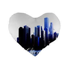 Abstract Of Downtown Chicago Effects Standard 16  Premium Flano Heart Shape Cushions