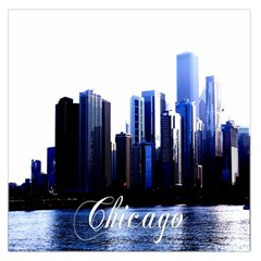 Abstract Of Downtown Chicago Effects Large Satin Scarf (Square)