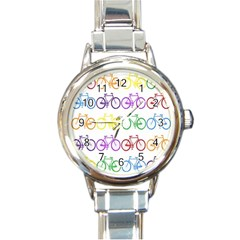 Rainbow Colors Bright Colorful Bicycles Wallpaper Background Round Italian Charm Watch